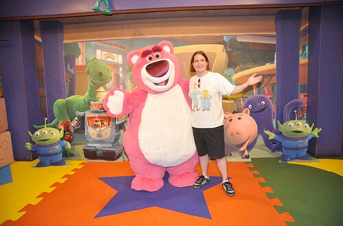Ricky Brigante with Lots-o'-Huggin' Bear (Lotso)