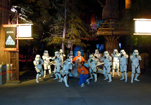 Stormtroopers pose with X-Wing outside Star Tours