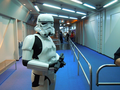 Stormtrooper keeps guests in order at Star Tours