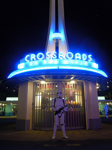 Stormtrooper guards the Crossroads sign