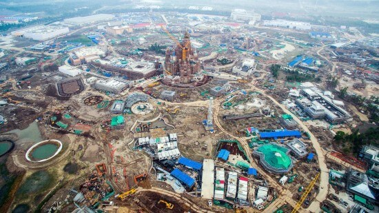 Aerial view of the Shanghai Disney Resort under construction in Pudong, Shanghai, China, 14 July 2015. Photo Imaginechina