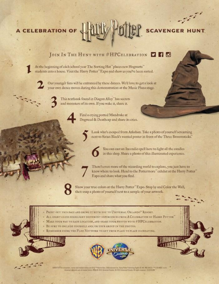 Scavenger Hunt Clues for 2016 Celebration of Harry Potter™ at