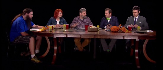 Spencer Crittenden, Erin McGathy, Dan Harmon, guest star Paul F. Tompkins, and Jeff Bryan Davis