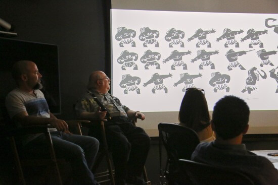 MOANA - (L-R) Carlos Cabral (Head of Characters and Technical Animation) and Eric Goldberg (2D Animator) present at the Moana Long Lead Press Day on July 27, 2016 at Walt Disney Animation Studios - Tujunga Campus in North Hollywood, CA. Photo by Alex Kang. © 2016 Disney. All Rights Reserved.