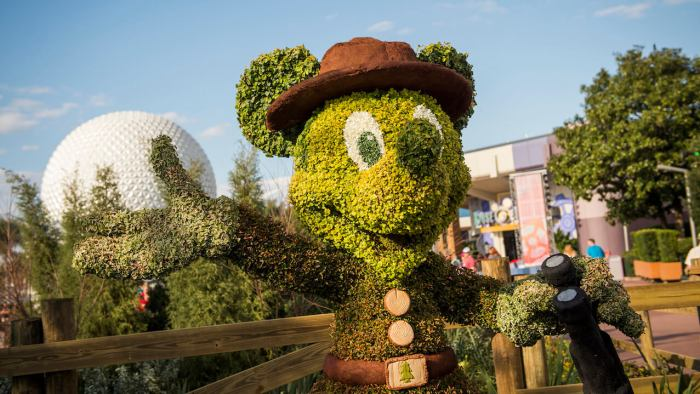 Ranger Mickey Mouse in topiary form poses by a colorful garden during the 23rd Epcot International Flower & Garden Festival at Walt Disney World Resort in Lake Buena Vista, Fla. At least 25 different plants, grasses and mosses including palm fiber, ficus and lichen are used to create the character topiaries appearing throughout the park's World Showcase and Future World. (Ryan Wendler, photographer)
