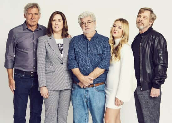 ORLANDO, FL - APRIL 13: Harrison Ford, Kathleen Kennedy, George Lucas, Billie Lourd and Mark Hamill attend the 40 YEARS OF STAR WARS PANEL during the 2017 STAR WARS CELEBRATION at Orange County Convention Center on April 13, 2017 in Orlando, Florida. (Photo by Meredith Jenks for Disney)