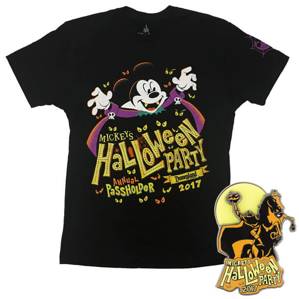 a specially designed event logo features disney characters enjoying the haunting holiday elements of the logo appear on apparel and collectible pins