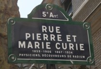 Signpost in Paris to the Pierre and Marie Curie Museum, chronicling the Nobel Prize-winner's extraordinary life