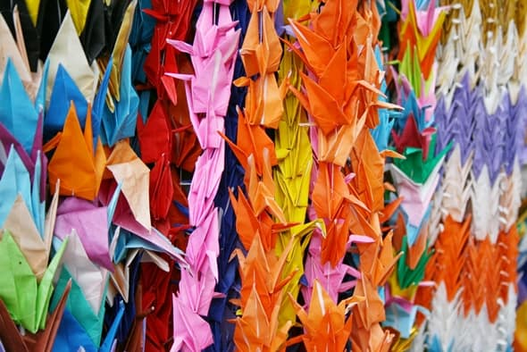 Peace Monuments - Hiroshima - Rainbow origami cranes for children