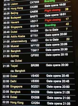 London Hong Kong flight times