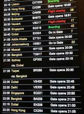 London Hong Kong flight times