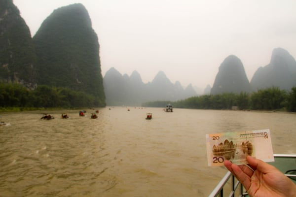 Li River Karst on bank note