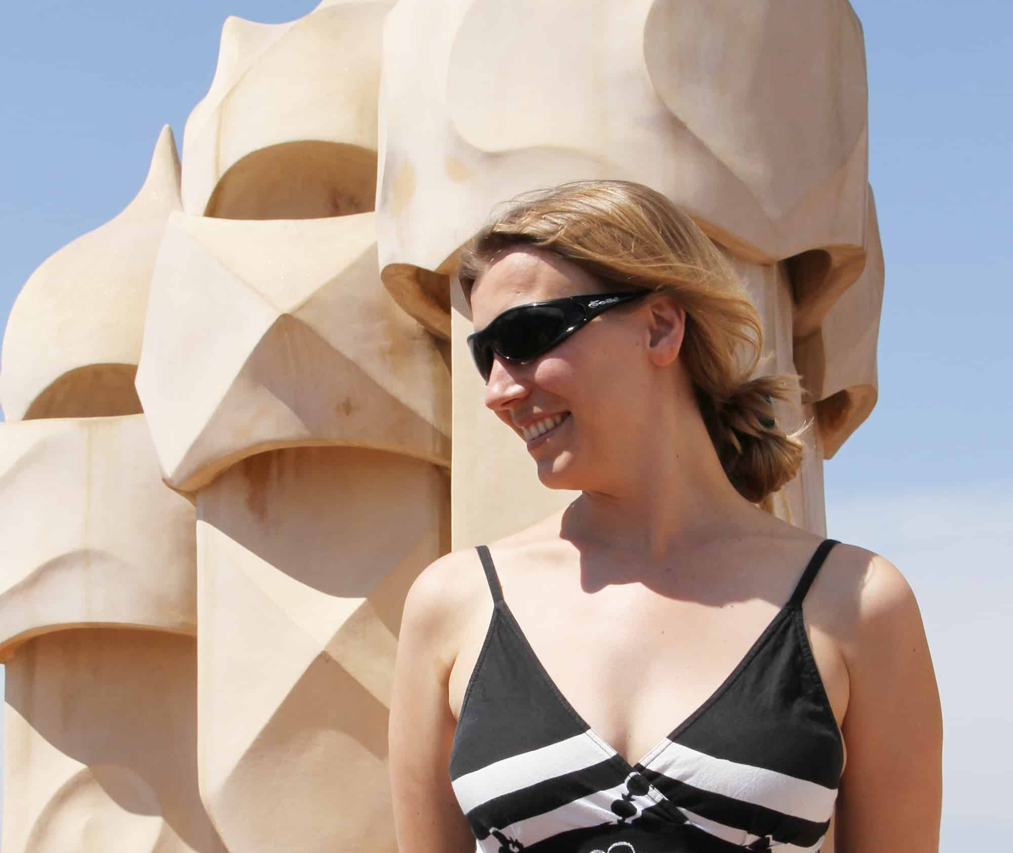 Abigail King in Barcelona at the Casa Mila