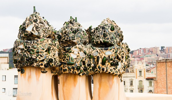Broken glass embedded in the chimney tops of the Casa Mila by Gaudi in Barcelona