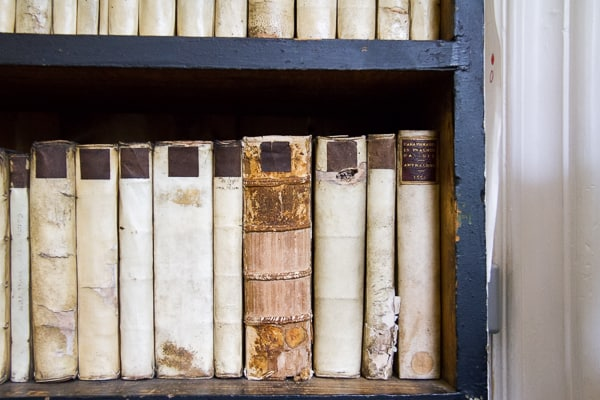 Line of damaged books at Marsh's Library