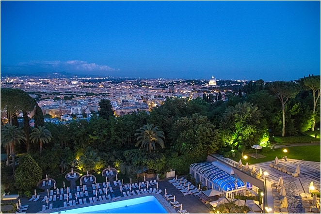 Evening view of Rome from the Rome Cavalieri