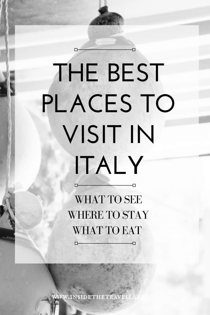 The best places to visit in Italy - where to stay in Italy, what to eat in Italy and where to go. Via @insidetravellab