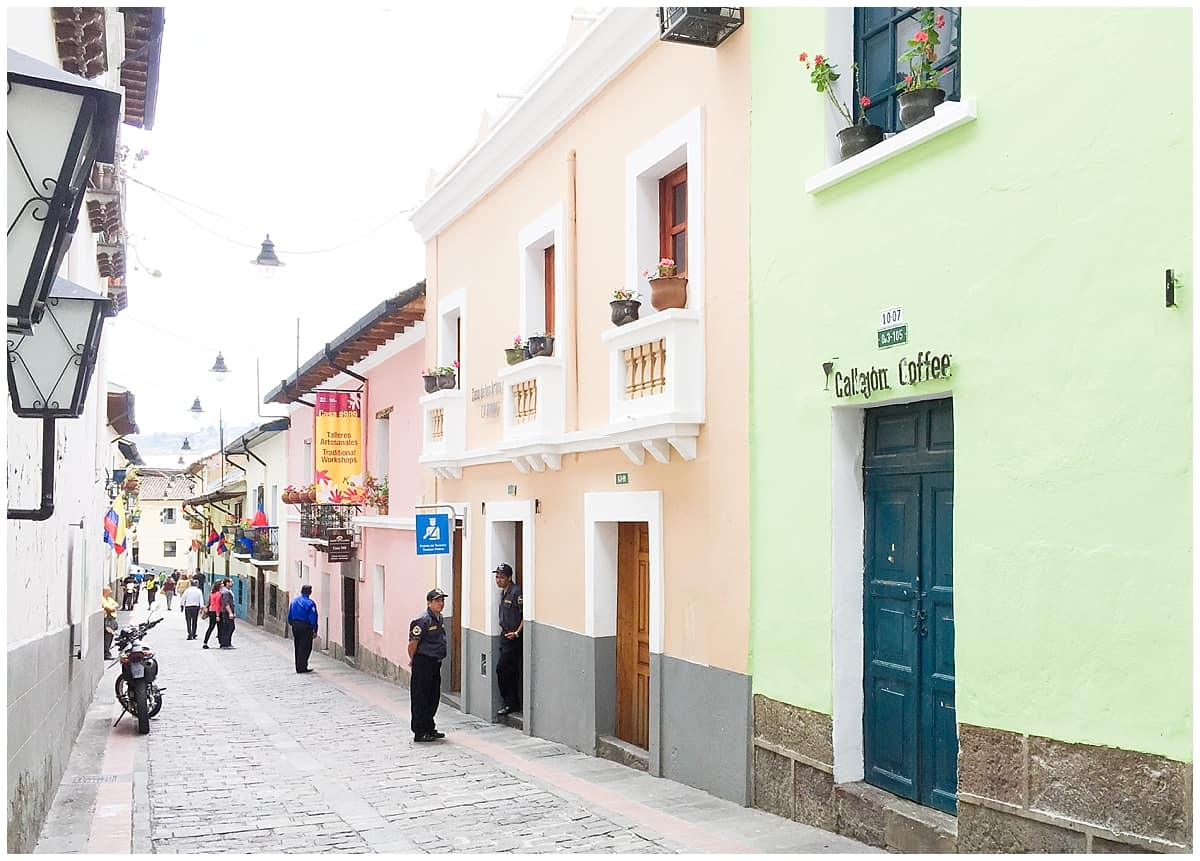 Pastel coloured street in Ecuador