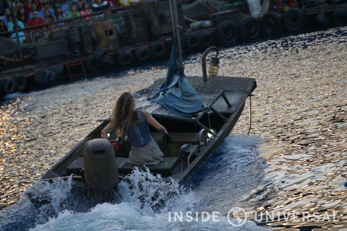 Helen steering her boat