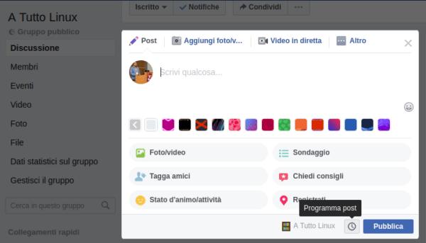 facebook gruppi programma post