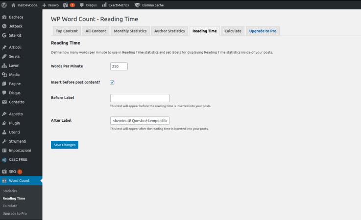 WP word count come aggiungere il tempo di lettura negli articoli su WordPress