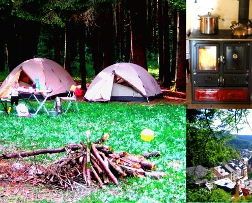 Zeltlager, alter Ofen, Stadt in der Natur, Kinder auf Wanderschaft