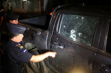 The car where the Honduran prosecutors were killed