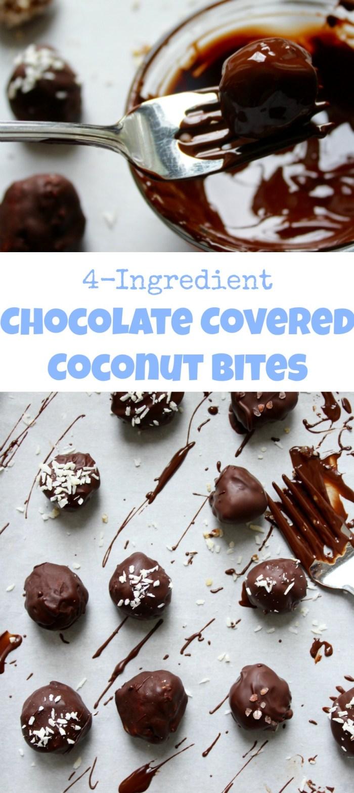 vegan, gluten free, and naturally sweetened 4-ingredient Chocolate Covered Coconut Bites! Yum!!