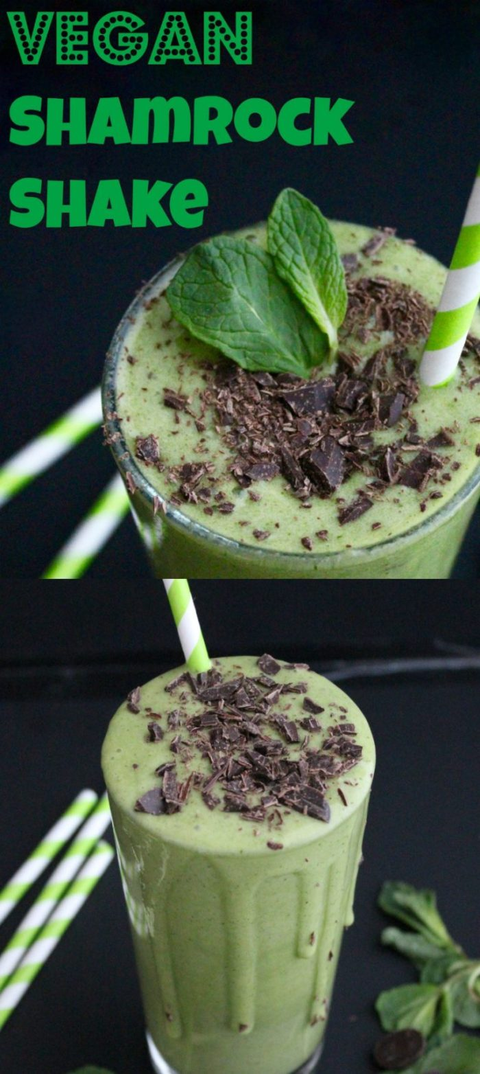 Vegan Shamrock shake that's actually super healthy! Naturally sweetened, and perfect for St. Patty's Day!