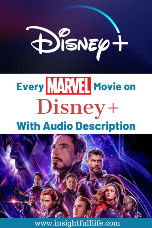 Disney+ logo and Avengers characters with text overlay Every Marvel Movie on Disney+ with Audio Description