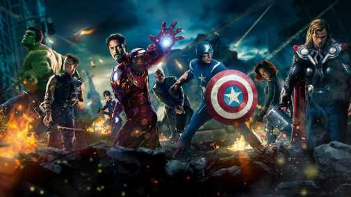 Group of the Avengers in battle including Captain America, Iron Man, Thor, and Black Widow