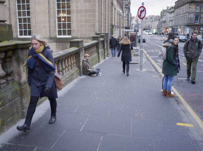 Poverty on the street Edinburgh