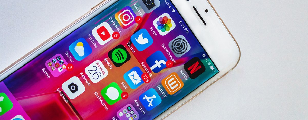 Smart Phone showing multiple social media apps