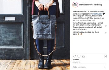 Instagram Post by Birdfolk Collective shows woman holding a bag for sale.