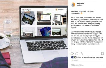 Open laptop displays instagram feed from Insights.