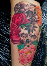 Flowers-Skulls-Tattoo