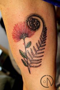 Pohutakawa and Fern tattoo