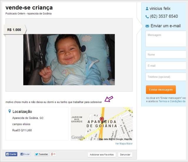 vende-se criança