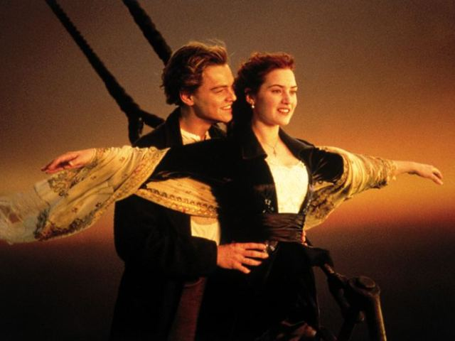 "In this image released by Paramount Home Entertainment, Kate Winslet and Leonardo DiCaprio are shown in a scene from, ""Titanic."" (AP Photo/Paramount Pictures) ** NO SALES **"