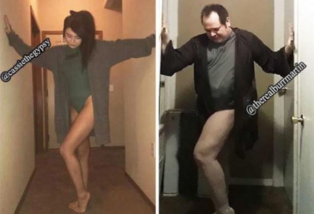 Pai imita poses da filha