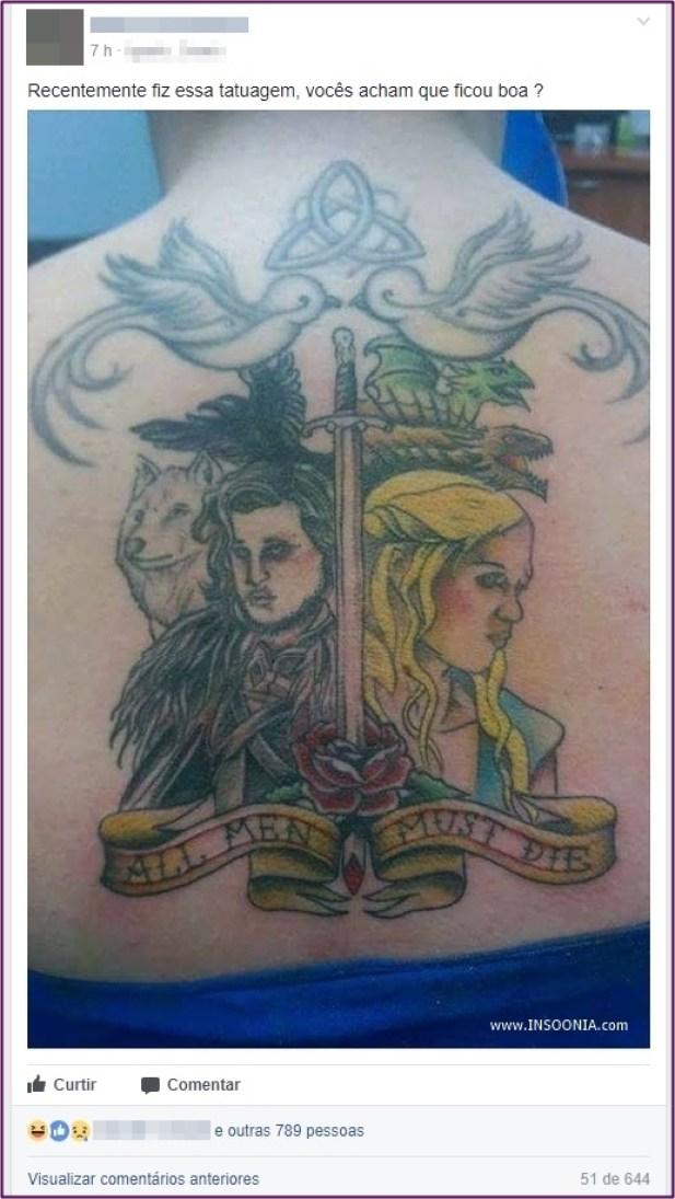 tatuagem de Game of Thrones