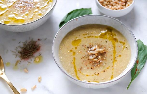 Roasted Cauliflower Garlic Soup w Fresh Thyme-0632