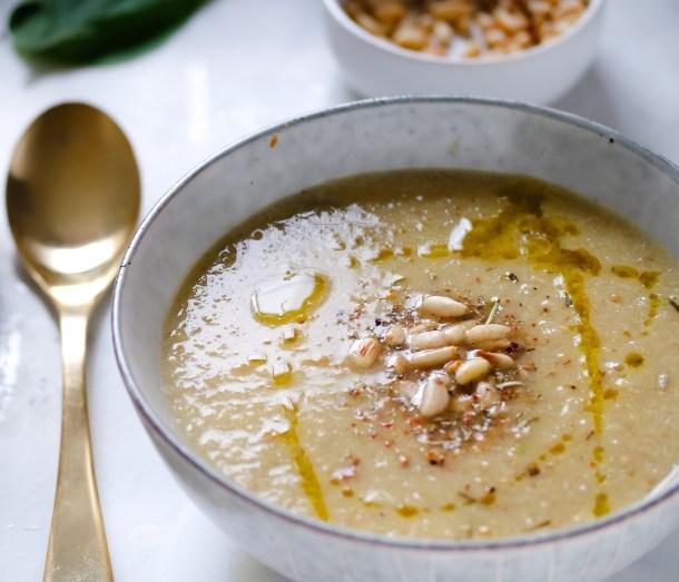 Roasted Cauliflower Garlic Soup w Fresh Thyme-0635
