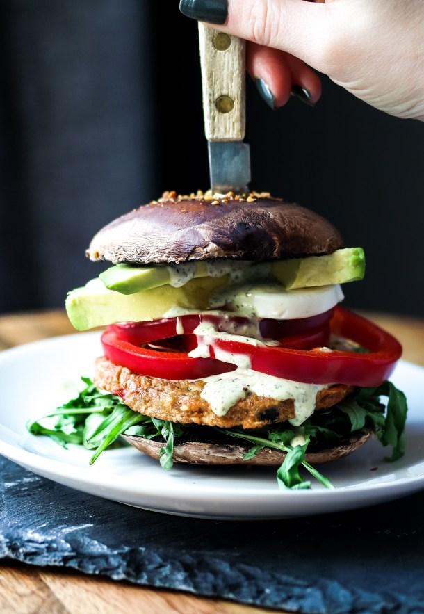 Portabella Mushroom Caps as Burger Buns!-3