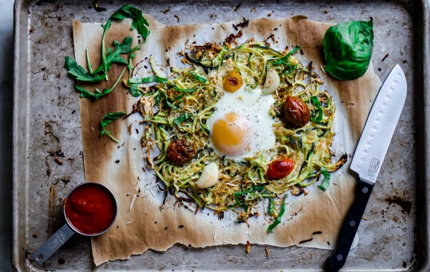Zucchini Just Got Eggcellent: Zoodle Hash Brown Pizza & Fried Egg