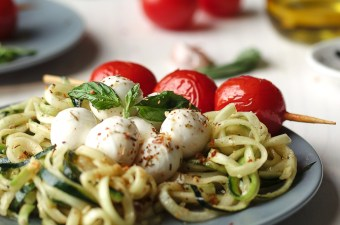 Deconstructed Hemp Pesto and Zoodles with Blistered Tomatoes