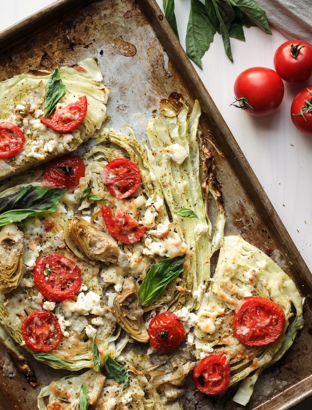Mediterranean Roasted Cabbage Steaks With Pesto-Easy to prepare Mediterranean Diet Recipes