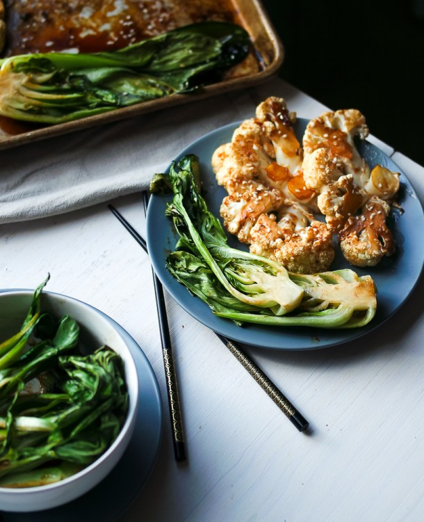 Sesame Roasted Bok Choy & Teriyaki Cauliflower Steaks