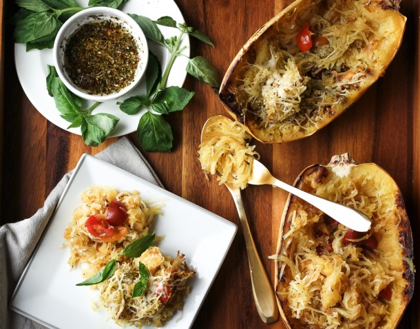Simple Spaghetti Squash with Basil Pesto