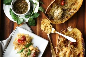 Simple Spaghetti Squash with Basil Pesto